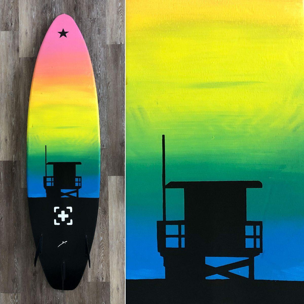hermosa beach tower 12 surfboard art by kikicutt