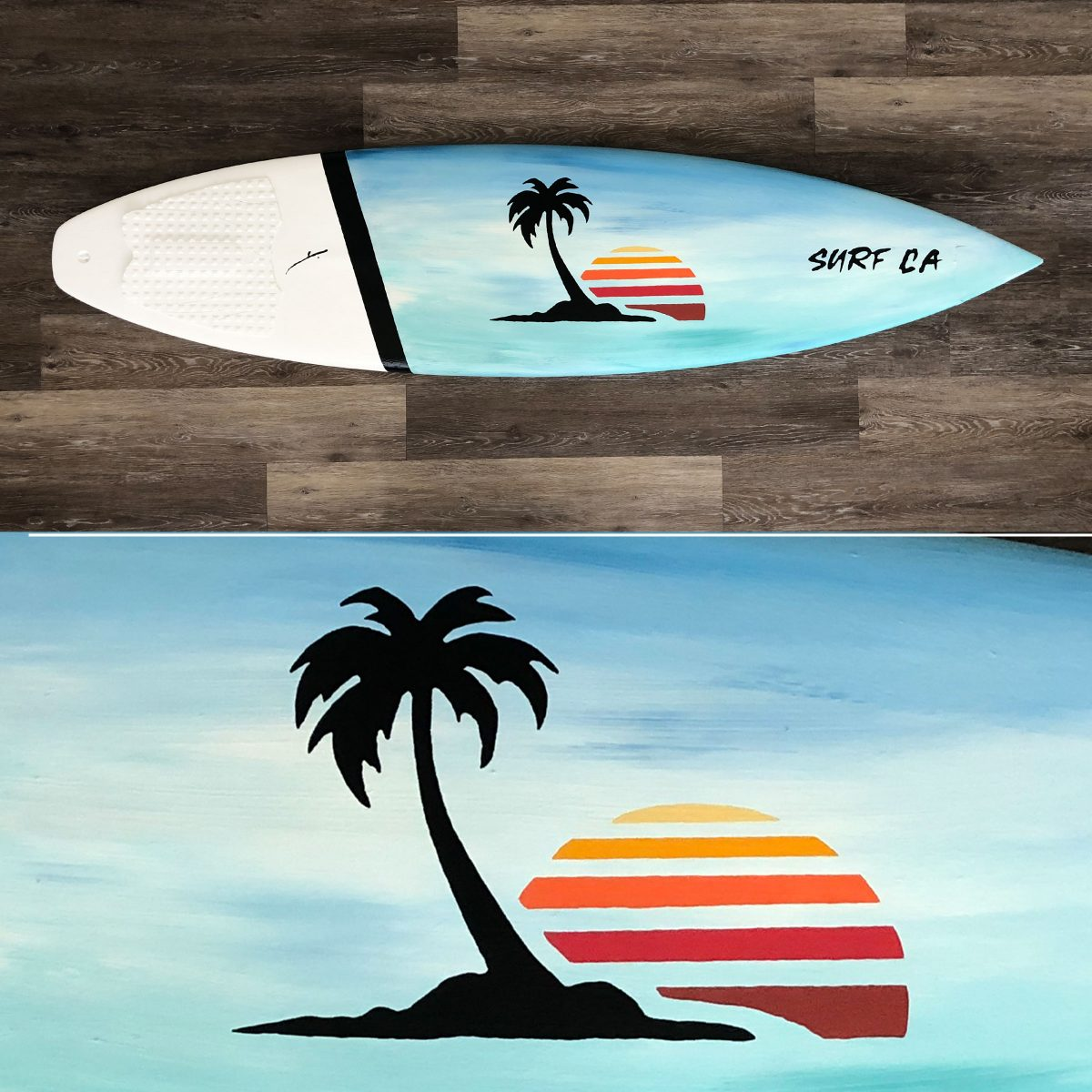 SURF CALIFORNIA surfboard art by kikicutt