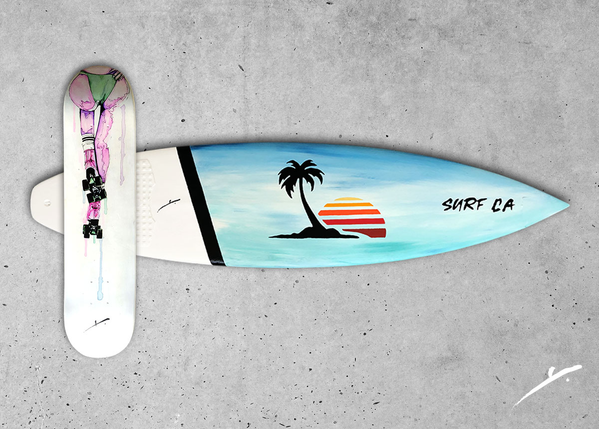 custom skateboard paintings and surfboard paintings by kikicutt
